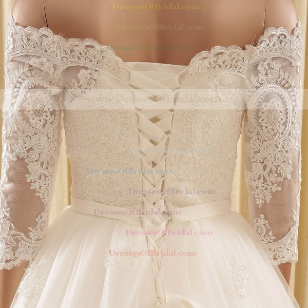Off-the-shoulder A-line Tulle Appliques Lace Chapel Train 3/4 Sleeve Online Wedding Dress #DOB00022571