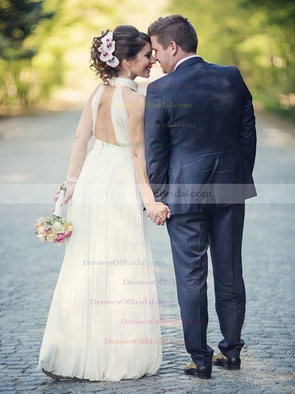 Simple A-line Ruffles Chiffon Floor-length Open Back High Neck Wedding Dresses #DOB00022572