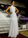 Simple A-line Ruffles Chiffon Floor-length Open Back High Neck Wedding Dresses #DOB00022572