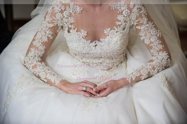 Latest A-line Scoop Neck Tulle Appliques Lace Sweep Train Long Sleeve Wedding Dress #DOB00022573