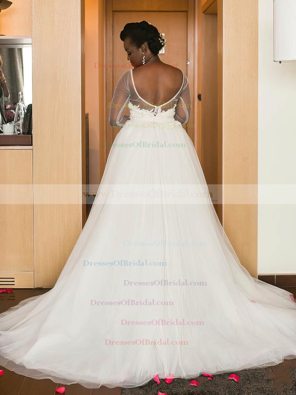 Asymmetrical Backless A-line Scoop Neck Tulle Appliques Lace Long Sleeve Wedding Dress #DOB00022574