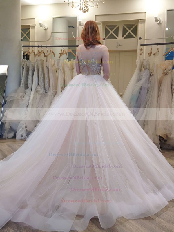New Style Princess V-neck Tulle Crystal Detailing Court Train Backless Wedding Dresses #DOB00022575