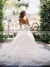 V-neck Tulle with Appliques Lace Court Train New Arrival Trumpet/Mermaid Wedding Dresses #DOB00022576