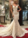 Trumpet/Mermaid V-neck Lace Tulle Appliques Lace Watteau Train Unique Wedding Dresses #DOB00022577