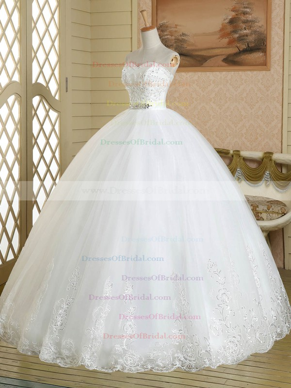 Wholesale Sweetheart White Tulle Sashes / Ribbons Floor-length Ball Gown Wedding Dresses #DOB00022578