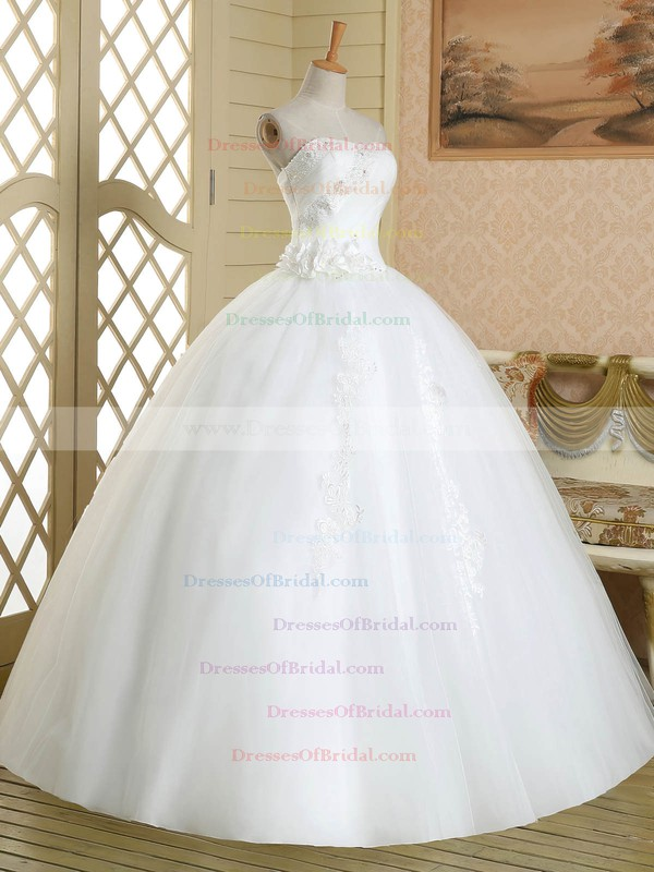 Discounted Ball Gown White Tulle with Flower(s) Floor-length Strapless Wedding Dresses #DOB00022580