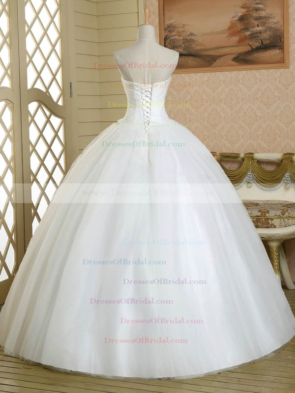 Ball Gown Sweetheart White Tulle Crystal Detailing Floor-length Classic Wedding Dress #DOB00022581