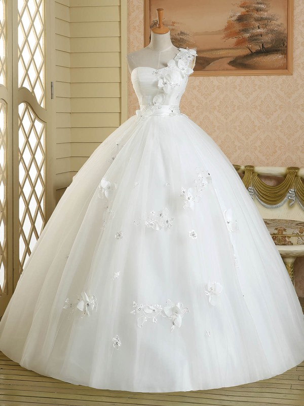 Ball Gown White Tulle Appliques Lace Floor-length Original One Shoulder Wedding Dress #DOB00022582