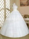 Vintage Strapless White Tulle Appliques Lace Floor-length Ball Gown Wedding Dresses #DOB00022583