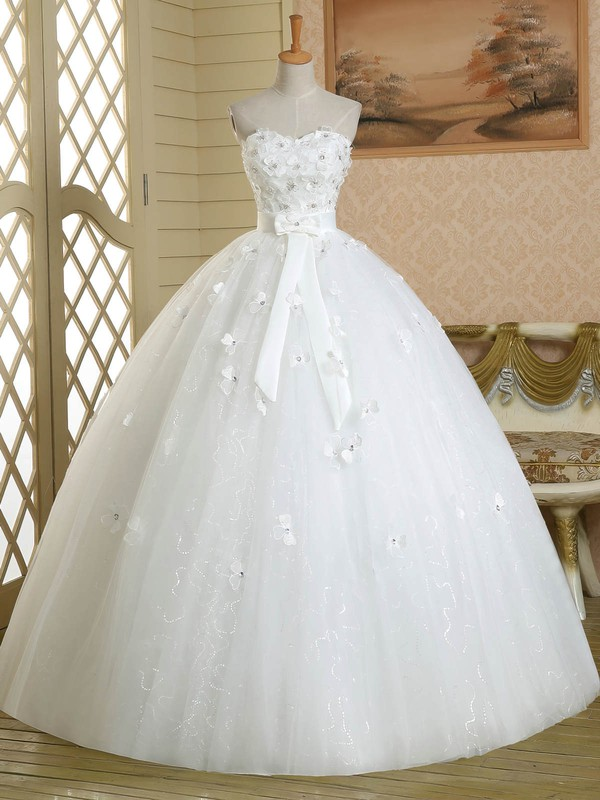 Ball Gown Sweetheart White Tulle Sashes / Ribbons Floor-length Affordable Wedding Dresses #DOB00022584
