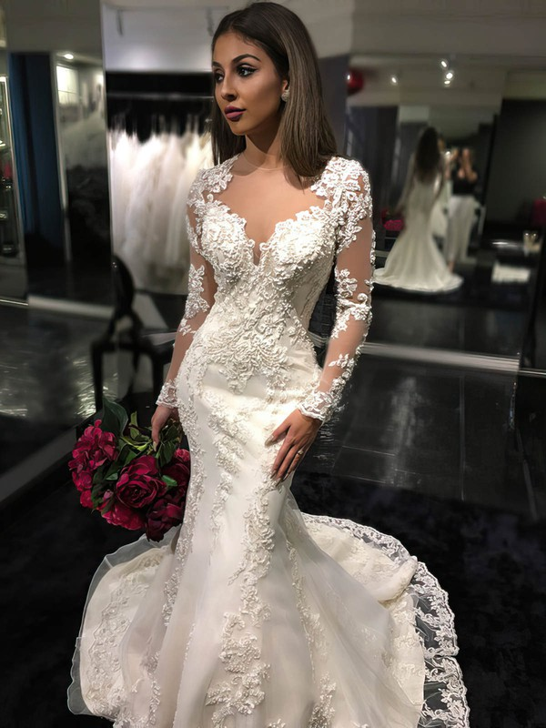 Trumpet/Mermaid Scoop Neck Tulle Court Train Appliques Lace Long Sleeve Wedding Dress #DOB00022585