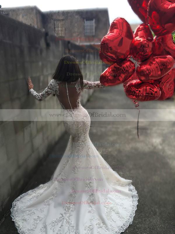 Trumpet/Mermaid Scoop Neck Tulle Court Train Appliques Lace Long Sleeve Wedding Dress #DOB00022585