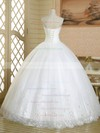 Ball Gown Sweetheart White Tulle with Beading Floor-length Lace-up Modest Wedding Dresses #DOB00022586