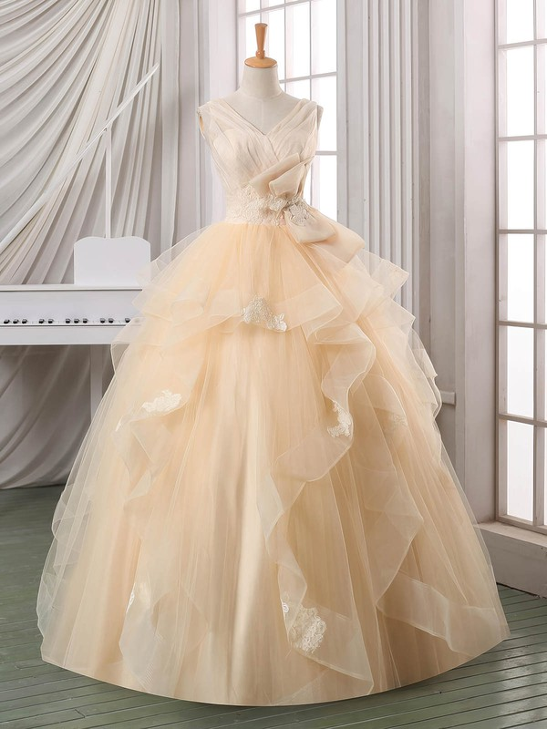 Online Ball Gown V-neck Satin Organza Tulle Appliques Lace Floor-length Backless Wedding Dresses #DOB00022587