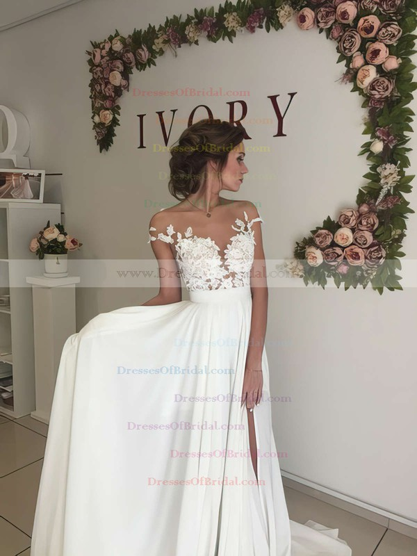 Modern A-line Scoop Neck Chiffon Tulle Appliques Lace Sweep Train Short Sleeve Wedding Dress #DOB00022588
