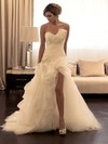 Trumpet/Mermaid Backless Sweetheart Organza Sweep Train Split Front Latest Wedding Dresses #DOB00022589