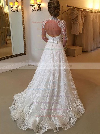 Open Back A-line Lace Sweep Train Sashes / Ribbons Long Sleeve High Neck Popular Wedding Dresses #DOB00022590