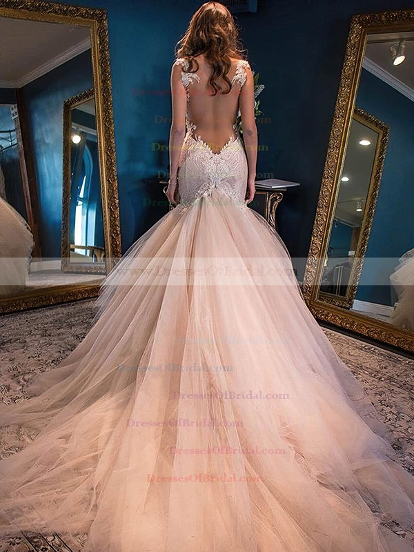 Glamorous Sweetheart Tulle Appliques Lace Watteau Train Trumpet/Mermaid Wedding Dresses #DOB00022591