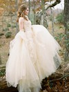 A-line Scoop Neck Tulle with Appliques Lace Sweep Train Fabulous Wedding Dresses #DOB00022592