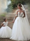 Top Scoop Neck Tulle Appliques Lace Ball Gown Chapel Train Long Sleeve Wedding Dress #DOB00022593