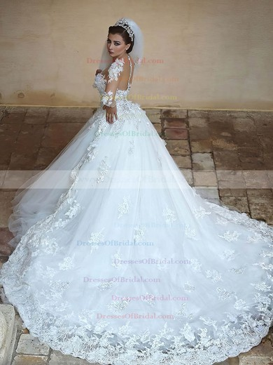 Ball Gown Scoop Neck Tulle Appliques Lace Cathedral Train Long Sleeve Unusual Wedding Dresses #DOB00022594