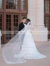 Off-the-shoulder A-line Lace Sashes / Ribbons Court Train Elegant Long Sleeve Wedding Dress #DOB00022595