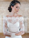 Off-the-shoulder A-line Lace Sashes / Ribbons Court Train Elegant Long Sleeve Wedding Dress #DOB00022595