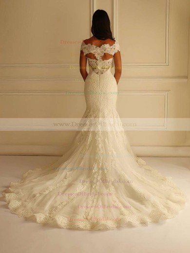 Boutique V-neck Lace Tulle Appliques Lace Court Train Trumpet/Mermaid Wedding Dresses #DOB00022596
