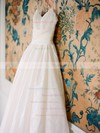 A-line V-neck Spaghetti Straps Satin Appliques Lace Sweep Train Affordable Wedding Dresses #DOB00022599