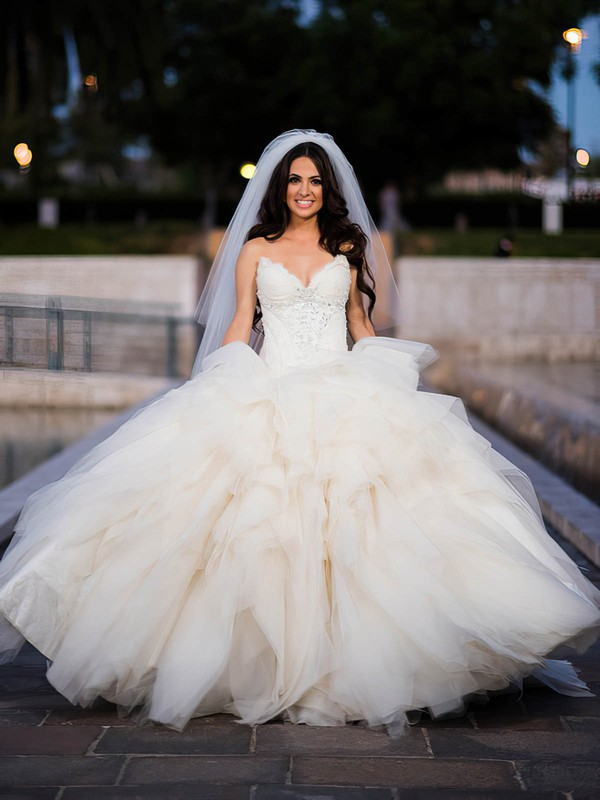 Glamorous V-neck Tulle with Beading Sweep Train Ball Gown Wedding Dresses #DOB00022601