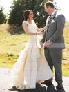 A-line Sweetheart Chiffon with Appliques Lace Sweep Train Beautiful Wedding Dresses #DOB00022605