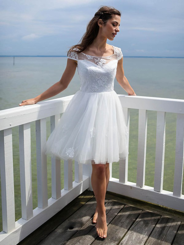Short/Mini A-line Scoop Neck Tulle Appliques Lace Open Back Cute Wedding Dresses #DOB00022606