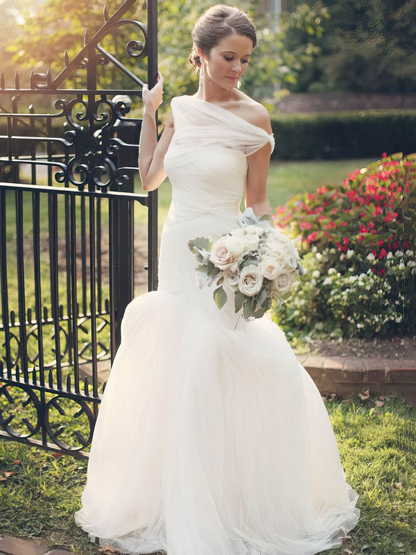 Fabulous Trumpet/Mermaid Tulle Ruffles Sweep Train One Shoulder Wedding Dresses #DOB00022607