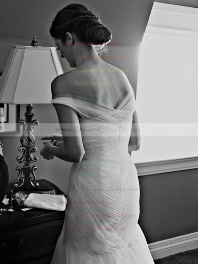 Fabulous Trumpet/Mermaid Tulle Ruffles Sweep Train One Shoulder Wedding Dresses #DOB00022607