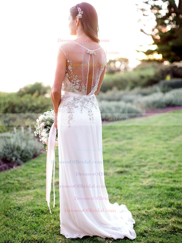 Perfect A-line Chiffon with Beading Sweep Train V-neck Wedding Dresses #DOB00022608