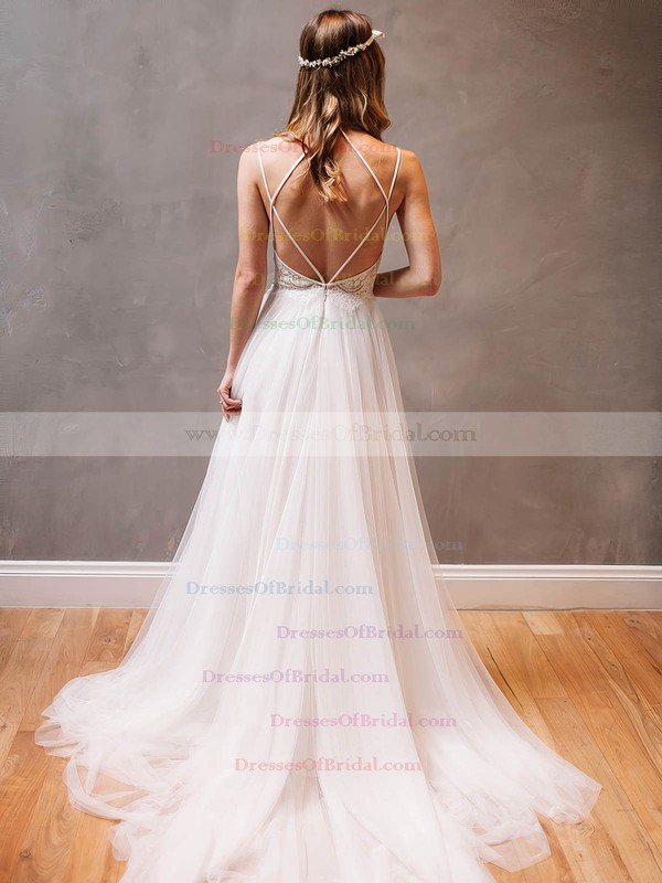 Modern A-line Scoop Neck Tulle Appliques Lace Watteau Train Backless Wedding Dresses #DOB00022609