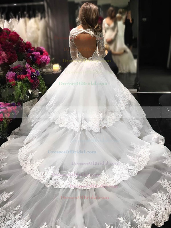 Ball Gown V-neck Tulle Appliques Lace Cathedral Train Long Sleeve Amazing Open Back Wedding Dresses #DOB00022610