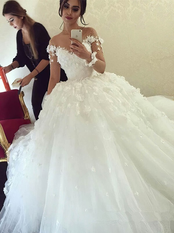 Scoop Neck Tulle Beading Sweep Train Long Sleeve Famous Ball Gown Wedding Dresses #DOB00022611