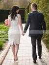 Boutique Scalloped Neck Sheath/Column Lace Ruffles Knee-length Wedding Dresses #DOB00022614