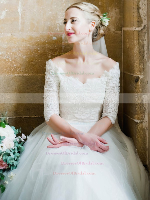 A-line Tulle with Lace Floor-length 1/2 Sleeve Classy Off-the-shoulder Wedding Dresses #DOB00022615