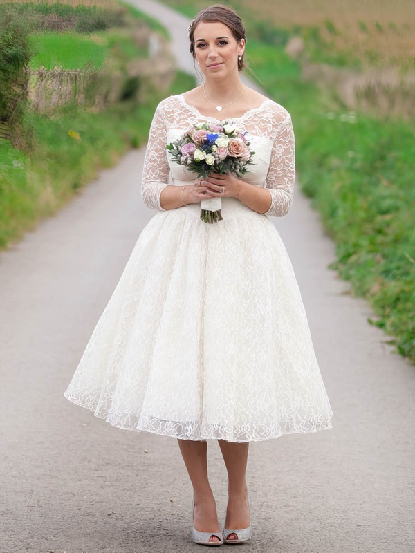 A-line Scoop Neck Lace Ruffles 3/4 Sleeve Affordable Tea-length Wedding Dresses #DOB00022616