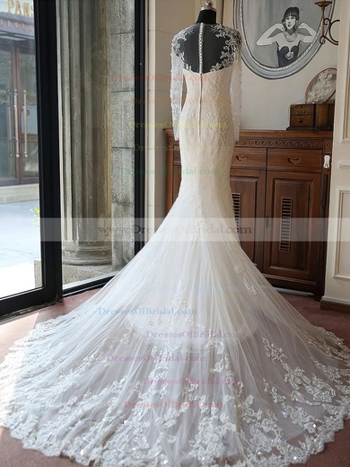 Scoop Neck Tulle Beading Chapel Train Long Sleeve Original Trumpet/Mermaid Wedding Dresses #DOB00022618