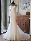 Scoop Neck Tulle Beading Chapel Train Long Sleeve Original Trumpet/Mermaid Wedding Dresses #DOB00022618
