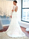 Trumpet/Mermaid Scalloped Neck Tulle Appliques Lace Sweep Train Long Sleeve Boutique Backless Wedding Dresses #DOB00022619