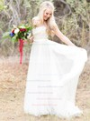 Fashion A-line Scoop Neck Tulle with Appliques Lace Sweep Train Wedding Dresses #DOB00022621