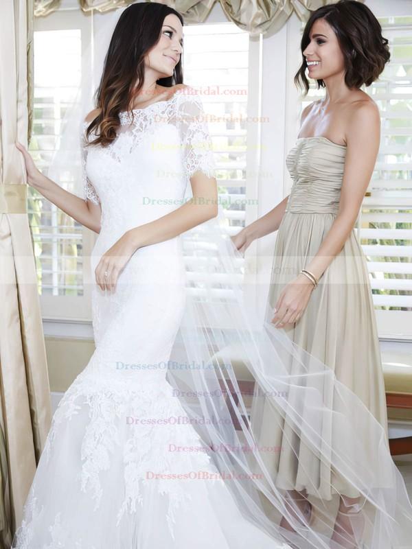 Elegant Off-the-shoulder Tulle Appliques Lace Sweep Train 1/2 Sleeve Trumpet/Mermaid Wedding Dresses #DOB00022623