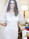 Elegant Off-the-shoulder Tulle Appliques Lace Sweep Train 1/2 Sleeve Trumpet/Mermaid Wedding Dresses #DOB00022623