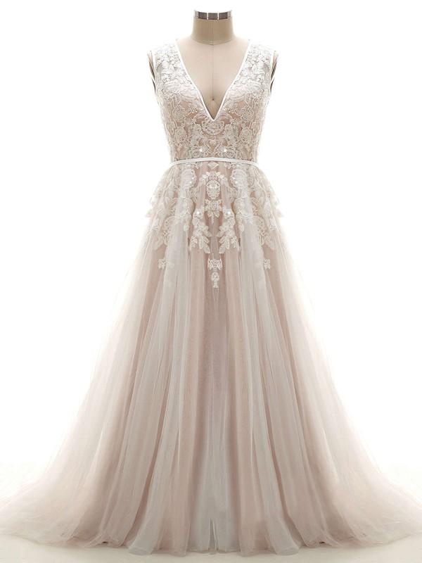 Open Back A-line V-neck Tulle Appliques Lace Court Train Custom Wedding Dresses #DOB00022624