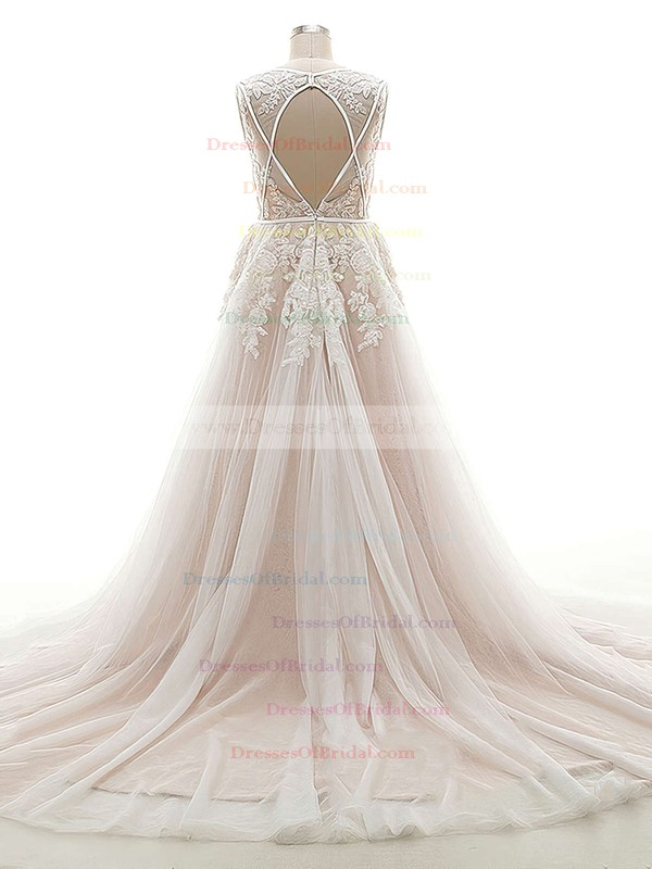 Open Back A-line V-neck Tulle Appliques Lace Court Train Custom Wedding Dresses #DOB00022624