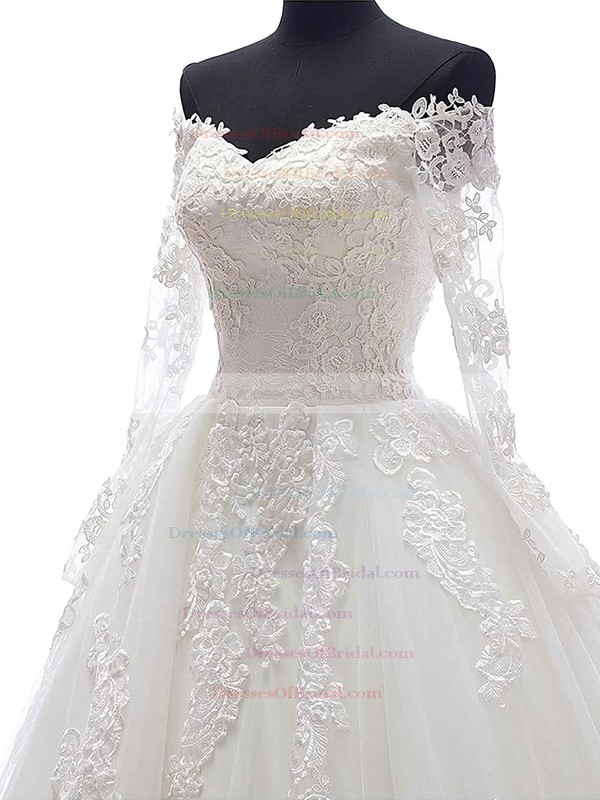 Ball Gown Tulle Appliques Lace Chapel Train Long Sleeve Modest Off-the-shoulder Wedding Dresses #DOB00022625